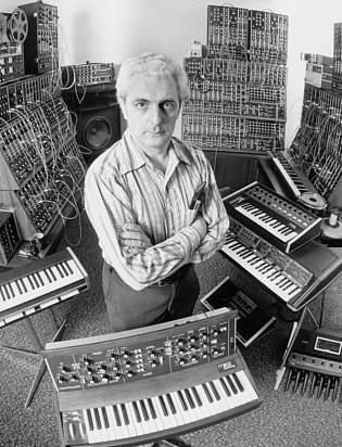 Bob Moog with some of his babies