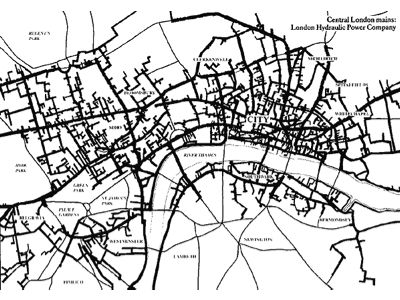 A map of London's 19th Century hydraulic power network