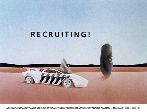 A police car, a rock and the text Recruiting!